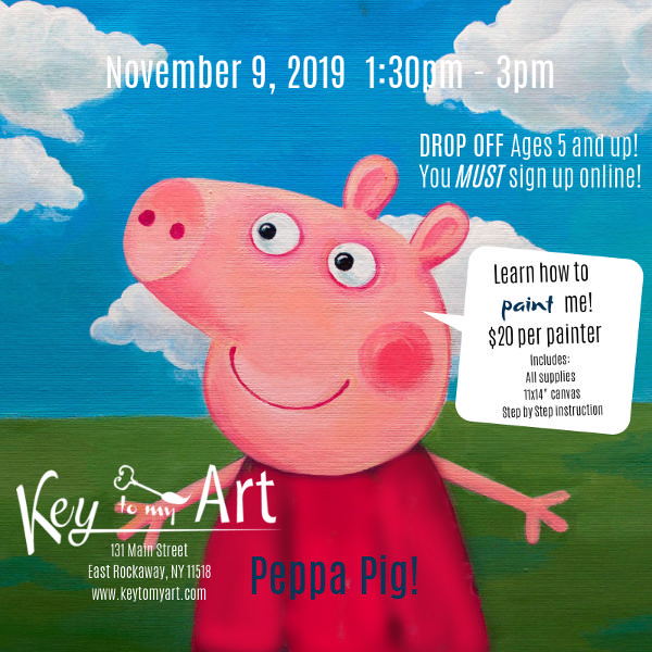 Peppa Pig Paint Event at Key to My Art East Rockaway