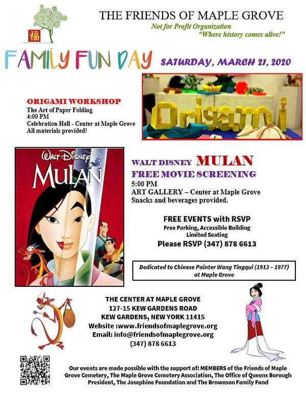 Mulan Film Viewing and Origami Workshop at Maple Grove Cemetery