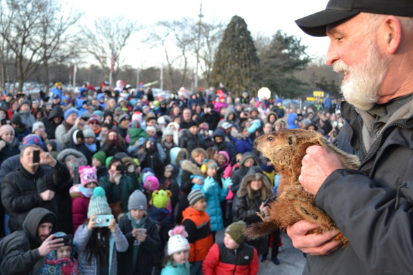 Holtsville Hal's Famous Prediction on Groundhog Day at Holtsville Ecology Site