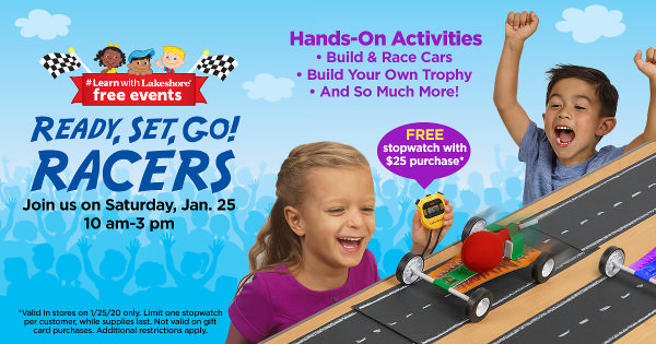 Lakeshore's Ready, Set, Go! Racers - Free In Store Event at Lakeshore Learning