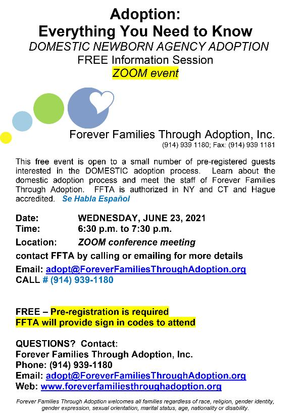 Free Zoom Adoption Information Session at Forever Families Through Adoption
