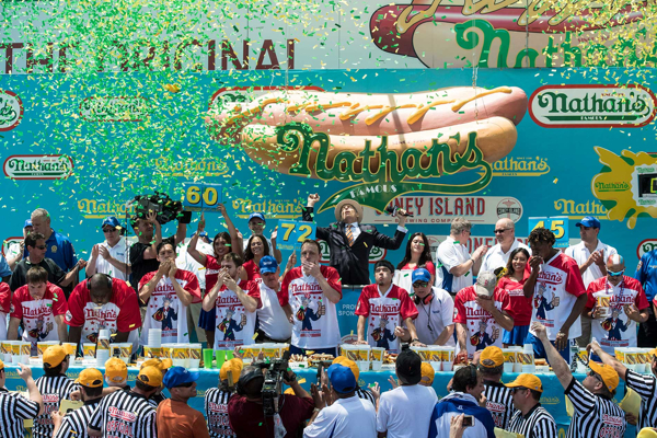 The 2018 Nathan's Famous International Hot Dog Eating Contest at Nathan's Famous Restaurant