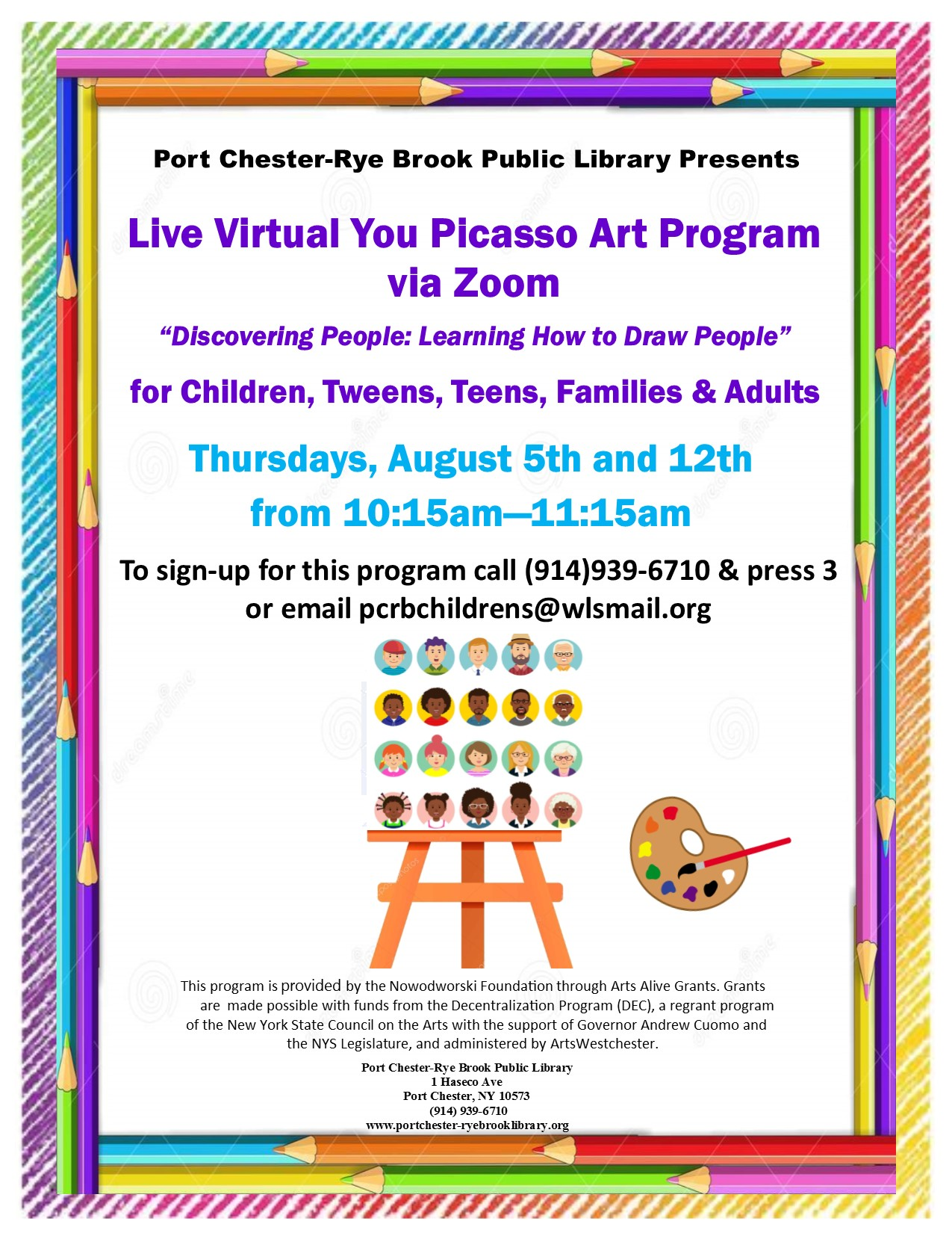 """Live Zoom """"You Picasso Art Program"""" at Port Chester-Rye Brook Public Library"""