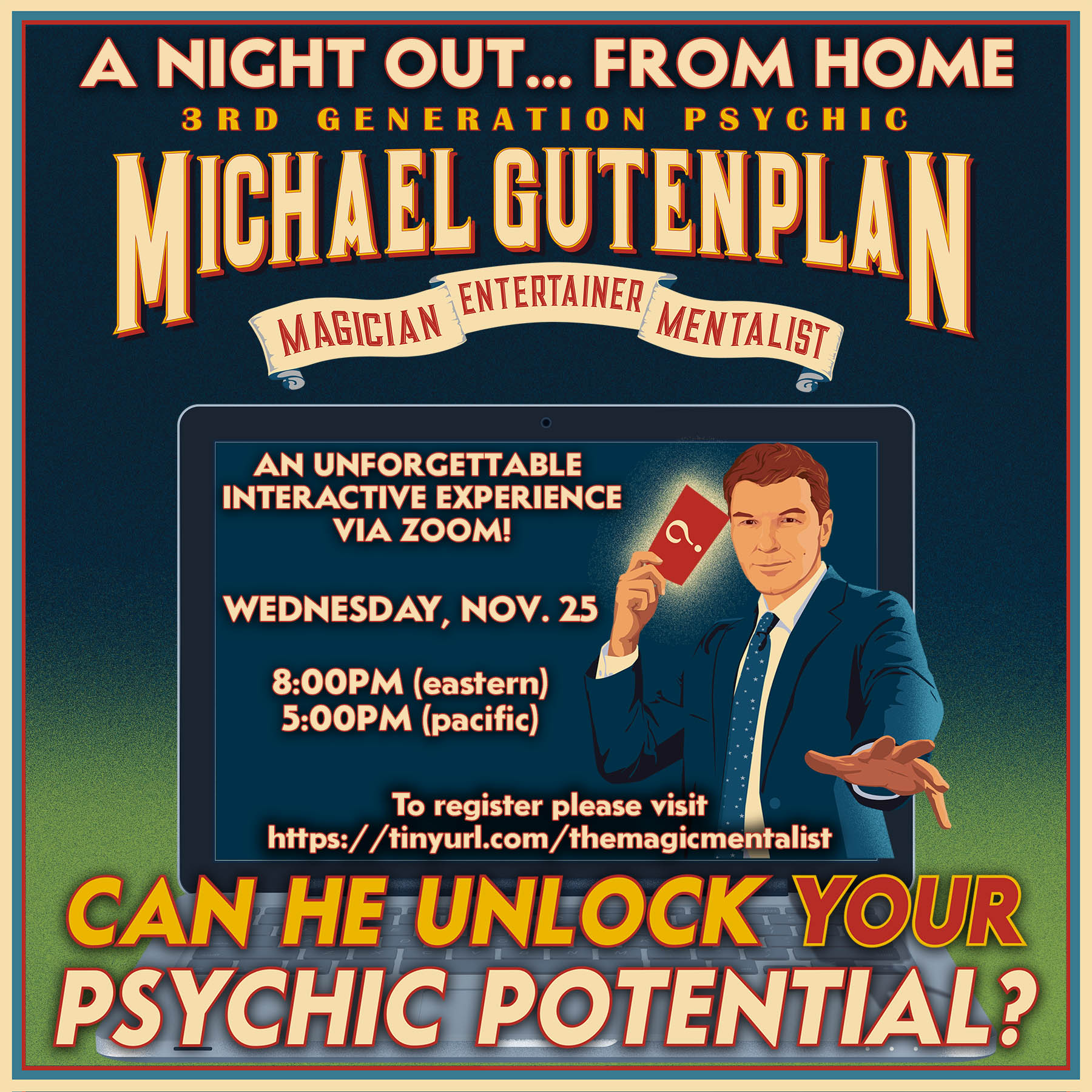ONLINE Virtual Mentalism and Magic Show with Master Mentalist Michael Gutenplan at The Magic Mentalist