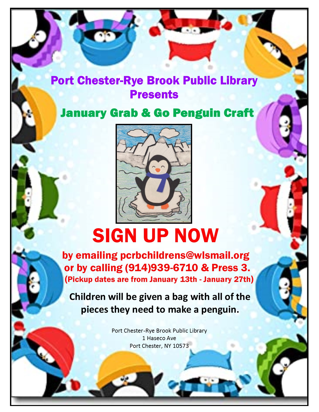 IN PERSON January Grab and Go Penguin Craft Pickup at Port Chester-Rye Brook Library