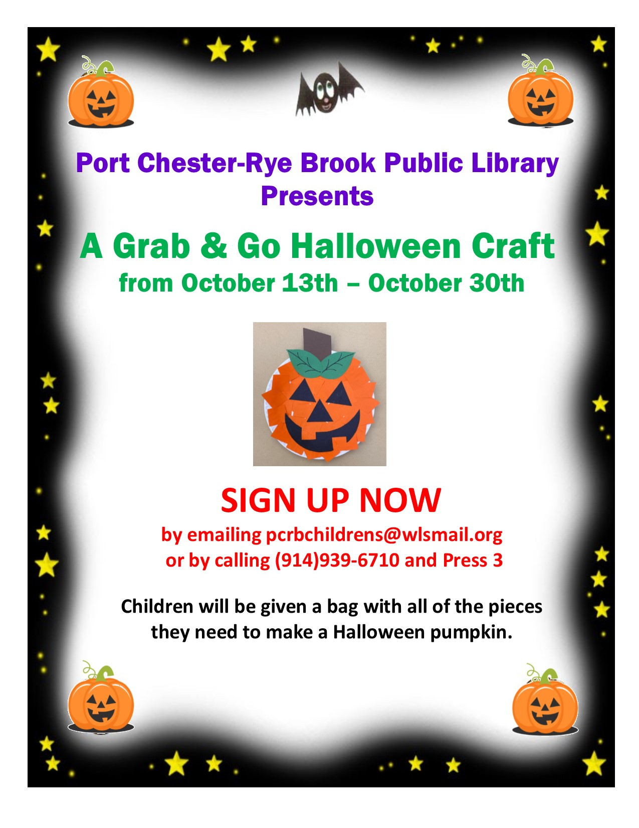 """IN PERSON """"Grab and Go Halloween Pumpkin Craft Pickup at the Port Chester-Rye Brook Public Library"""" at Port Chester/Rye Brook Library"""