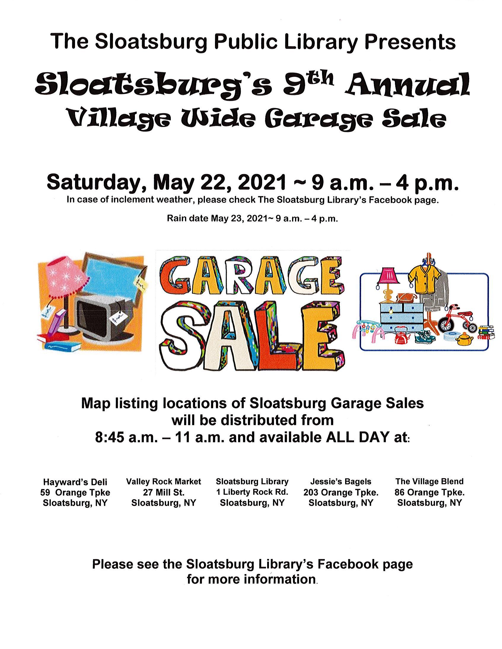 SLOATSBURG'S 9th ANNUAL VILLAGE WIDE GARAGE SALE at Sloatsburg Public Library