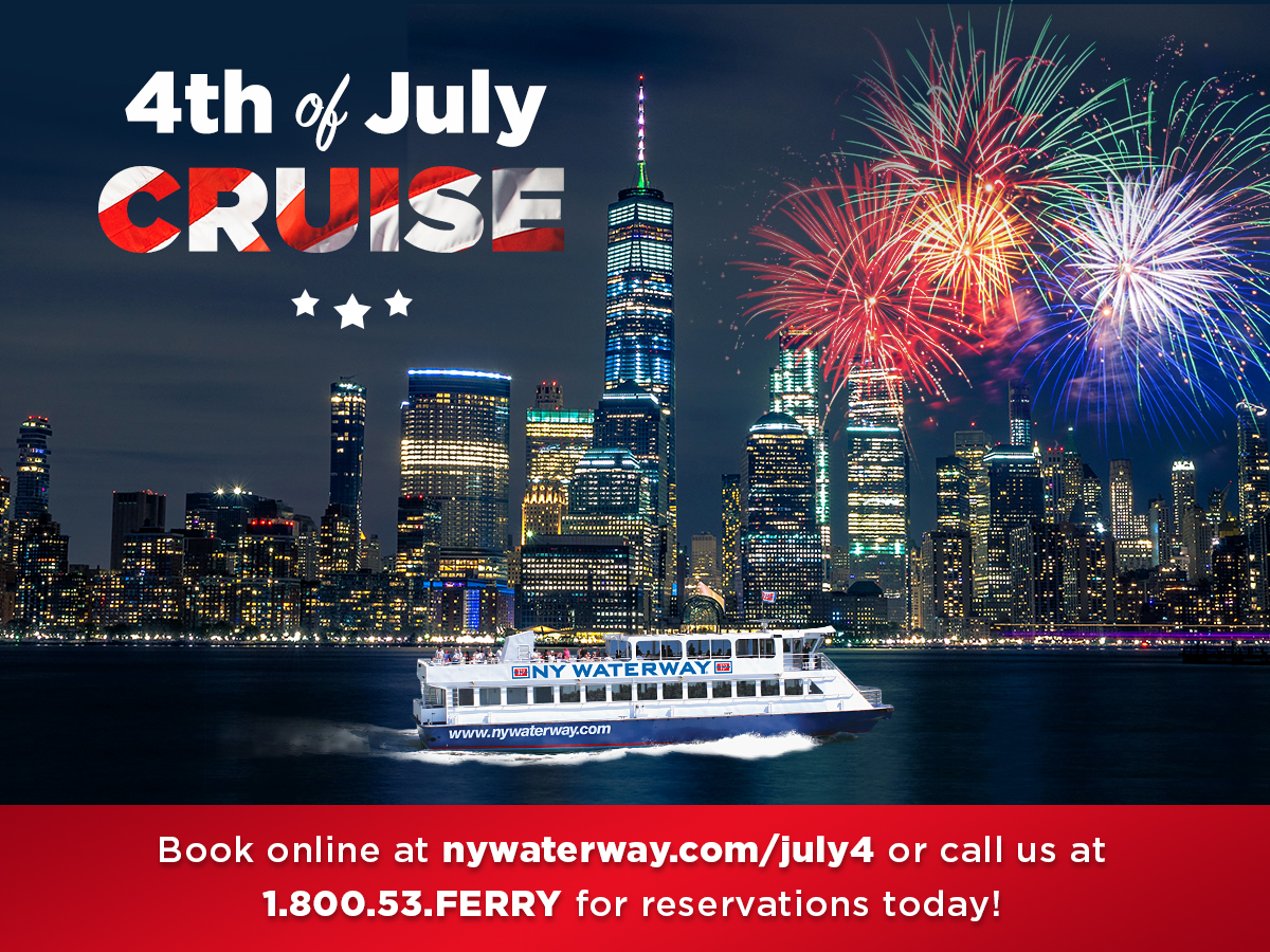 NY Waterway Evening Sightseeing Cruise to Watch The Macy's Fourth of July Fireworks at Port Imperial Ferry Terminal