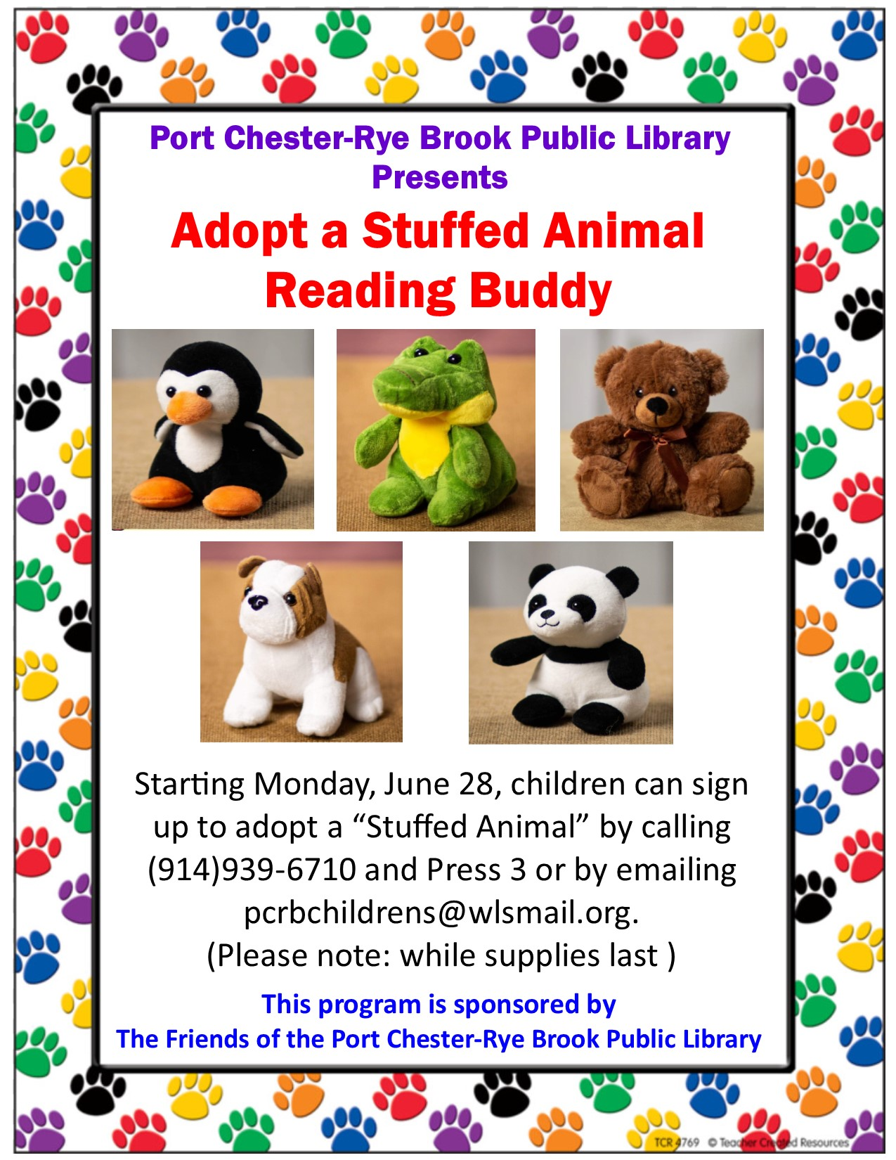 Adopt a Stuffed Animal Reading Buddy at Port Chester-Rye Brook Public Library