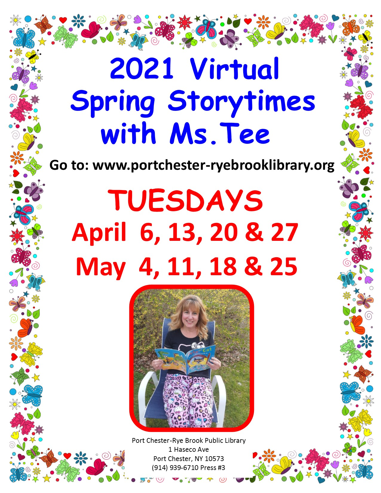 Virtual Spring Storytime with Ms. Tee at Port Chester-Rye Brook Library