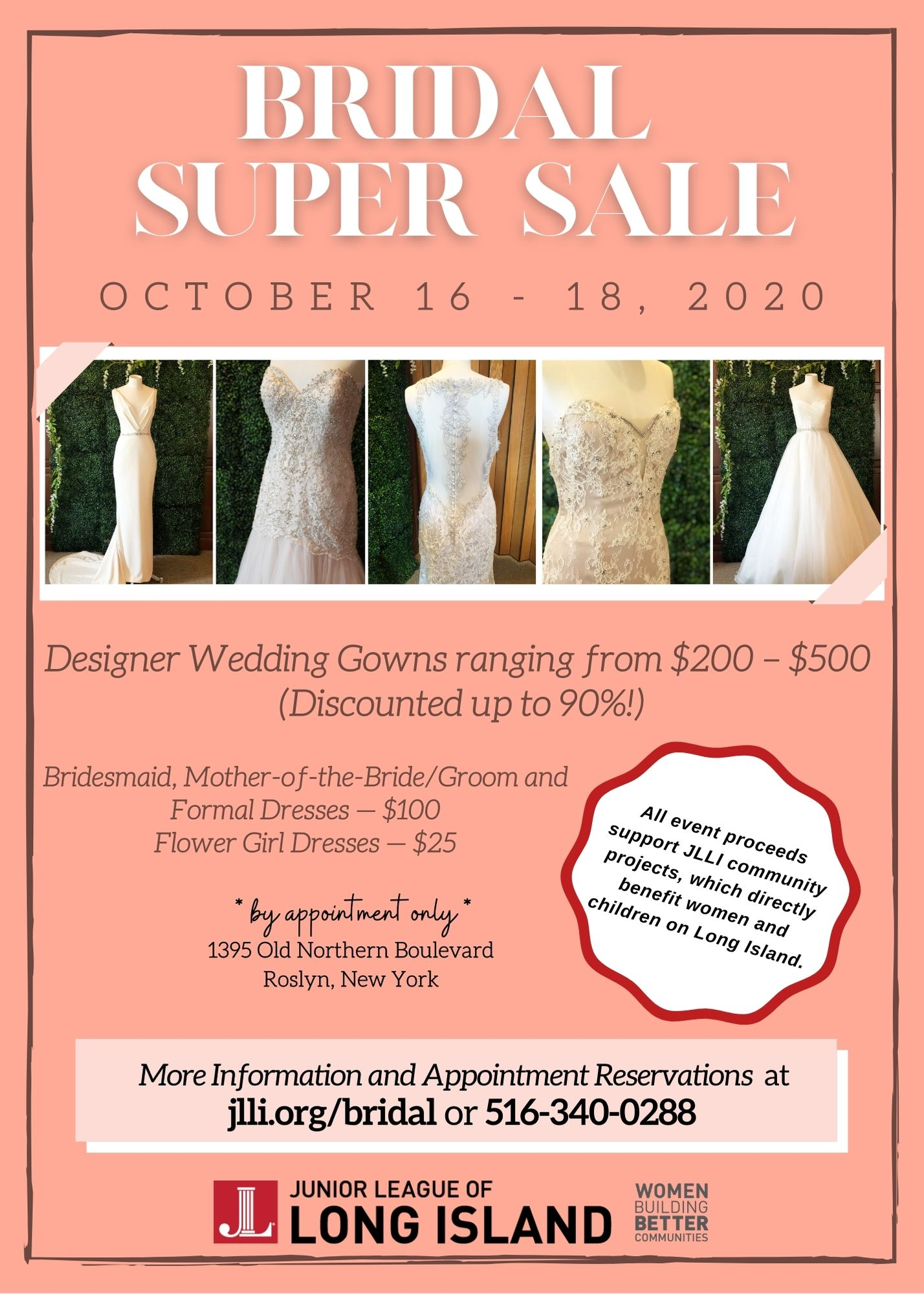 IN PERSON Junior League of Long Island - Bridal Super Sale at Junior League of Long Island HQ