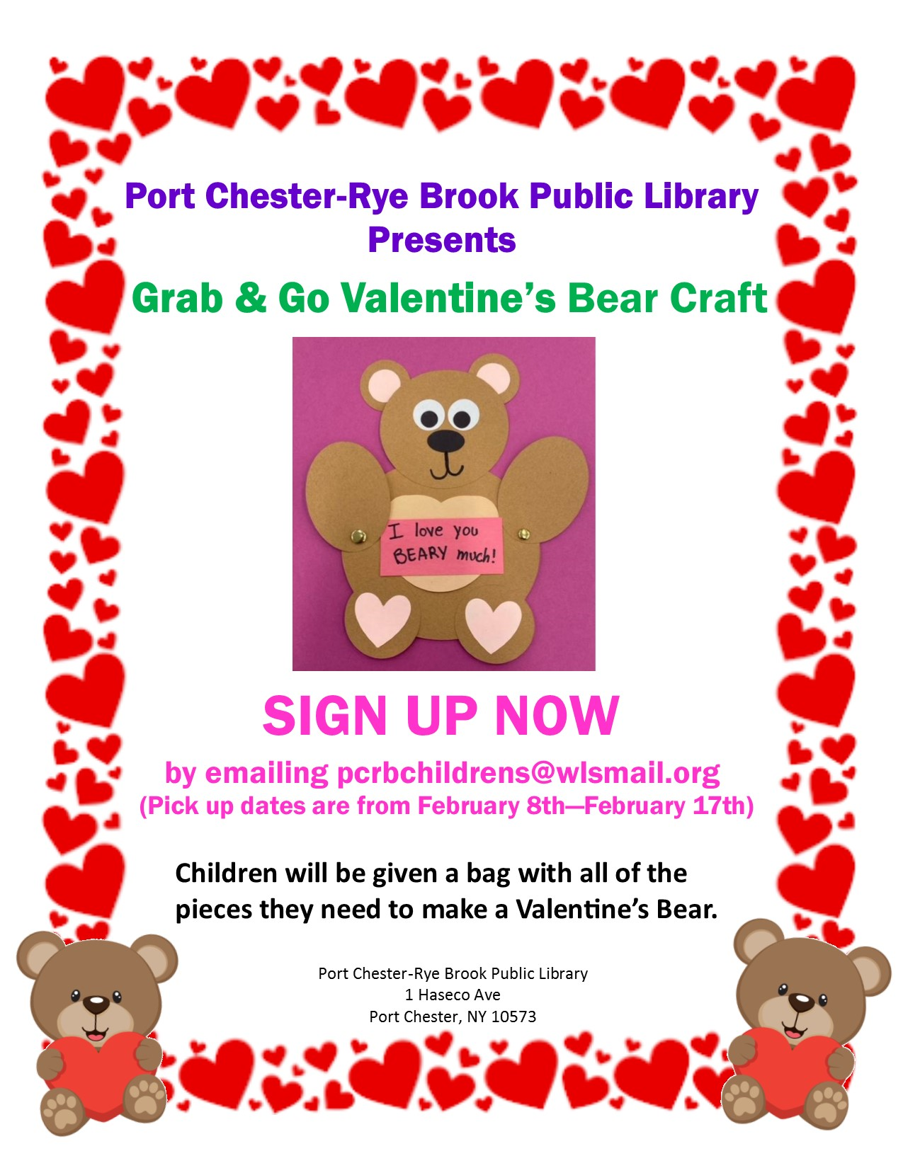 IN PERSON February Grab and Go Valentine's Day Bear Craft Pickup at the Port Chester-Rye Brook Public Library at Port Chester/Rye Brook Library