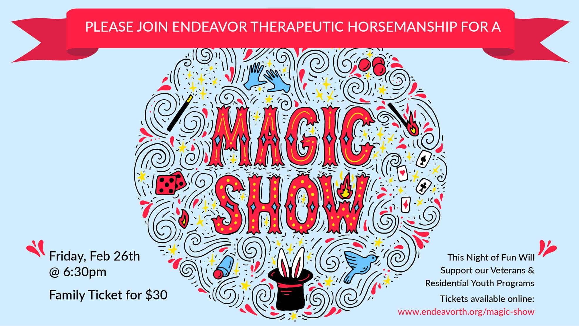 ONLINE Virtual Magic Show at Endeavor Therapeutic Horsemanship