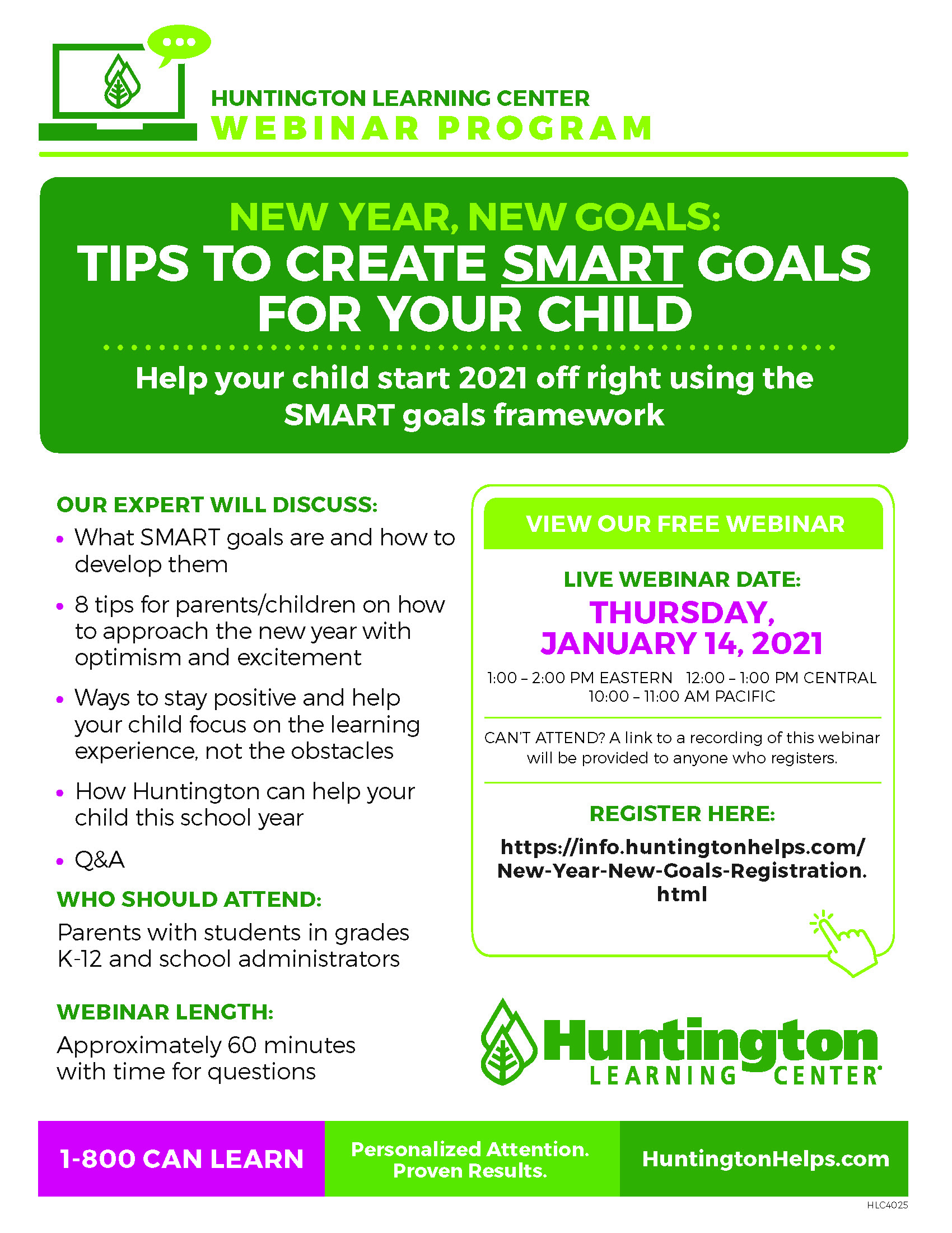 ONLINE Tips to Create SMART Goals for your Child at Huntington Learning Center