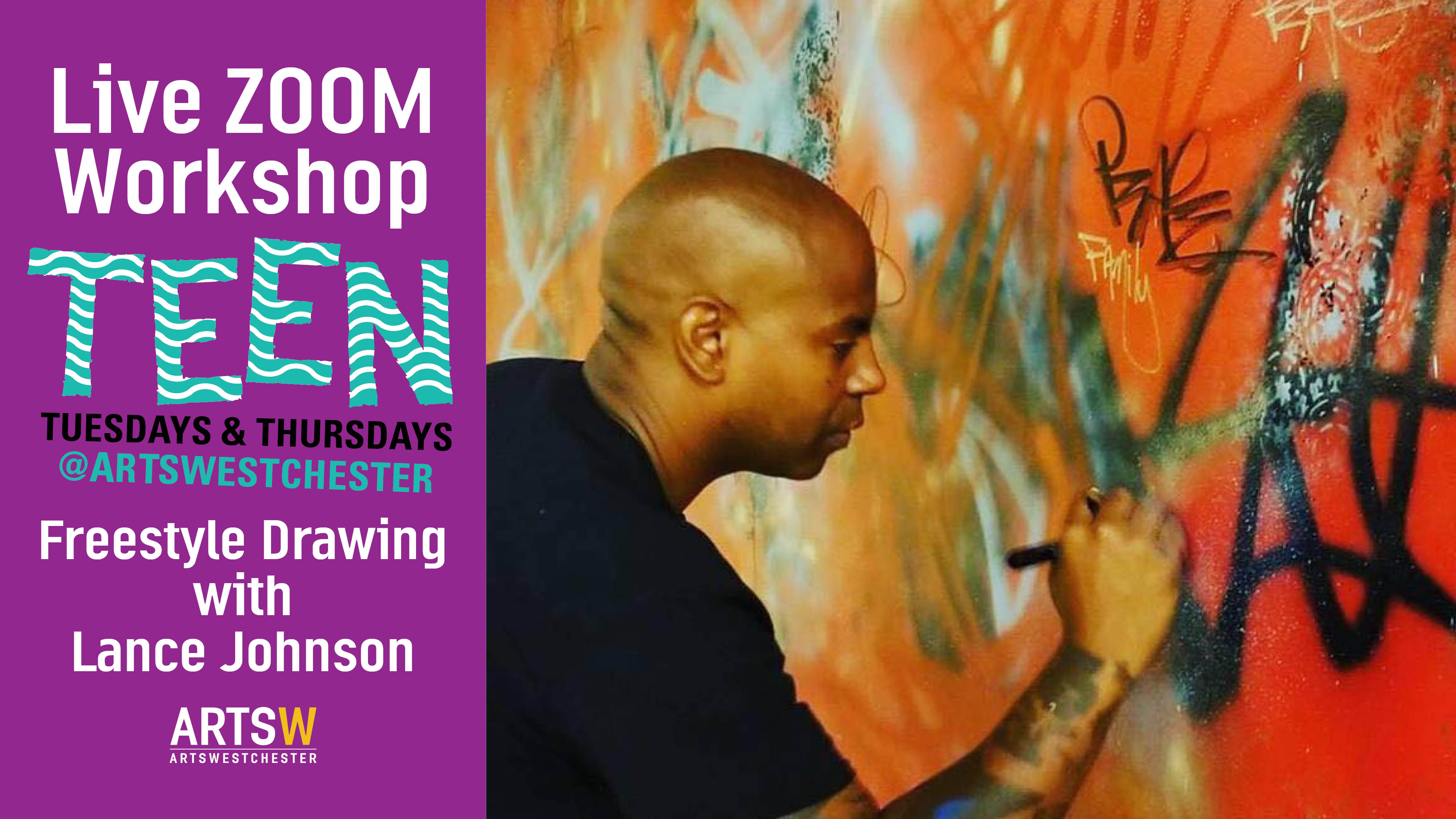 ONLINE Free Teen Freestyle Drawing Workshop on ZOOM! (Ages 12-17yrs) at ArtsWestchester