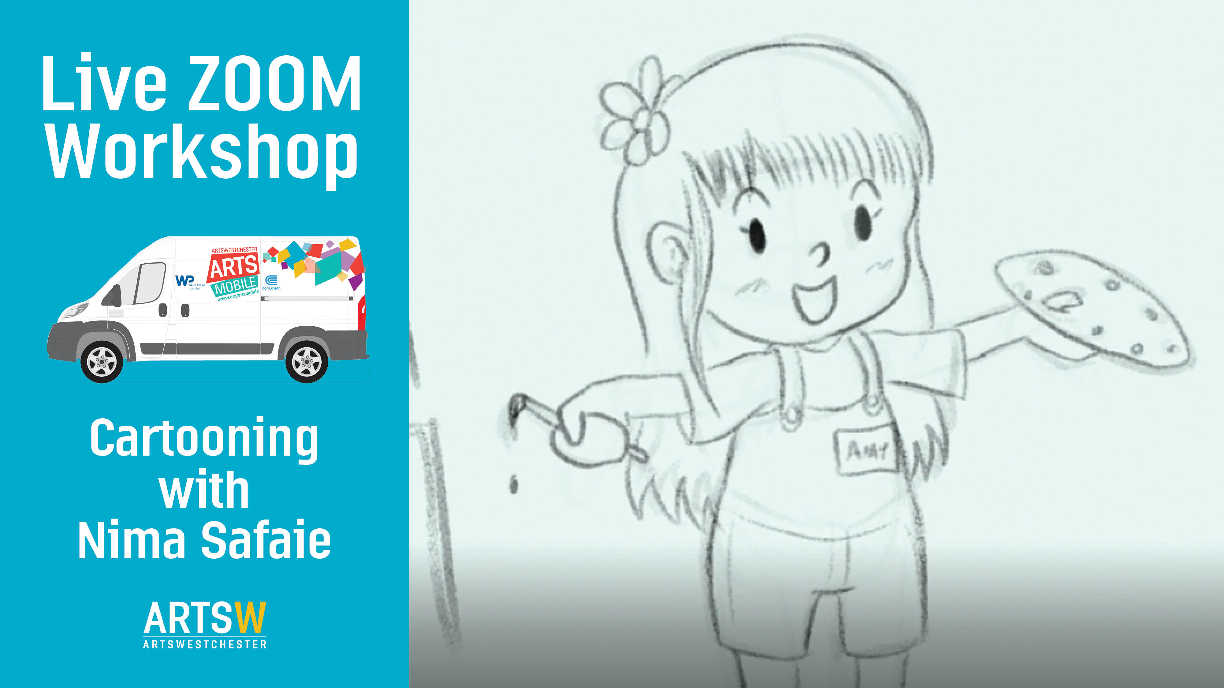 ONLINE Free Cartooning Workshop on ZOOM for kids ages 7-12 yrs! at ArtsWestchester