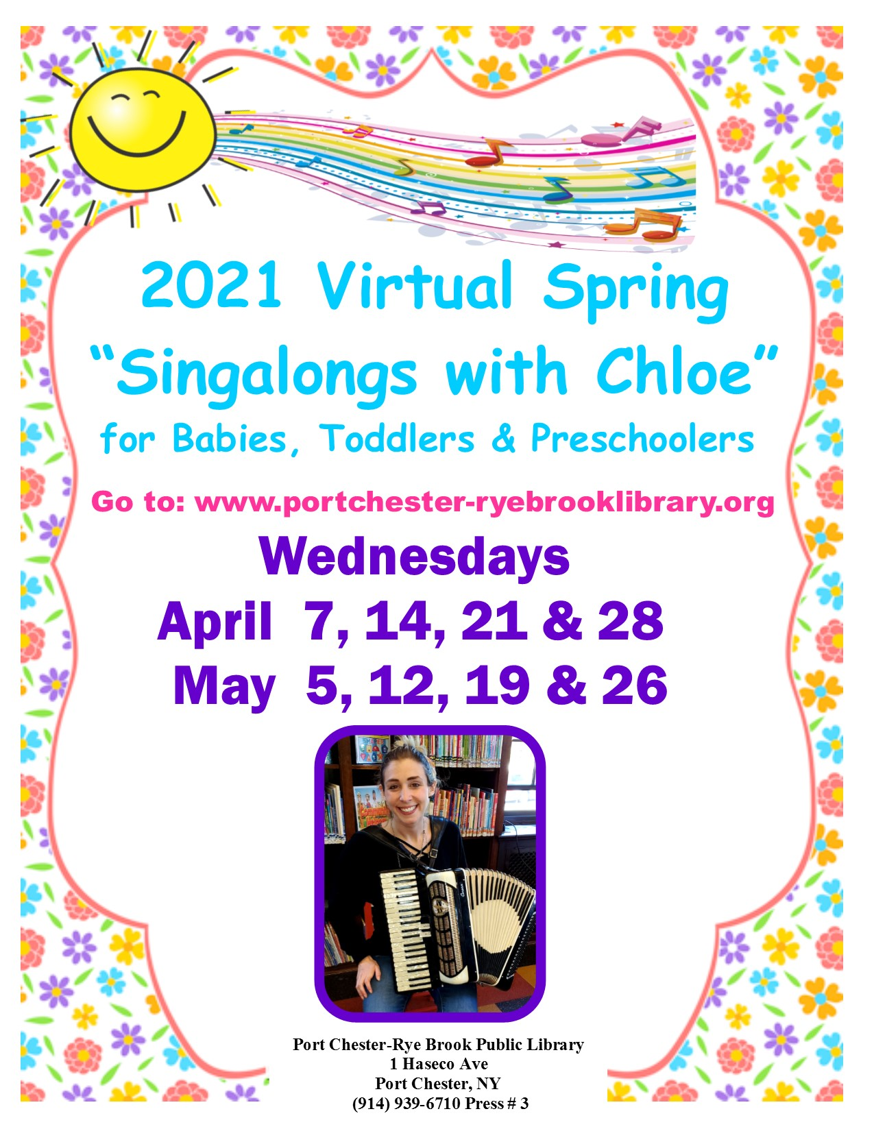 ONLINE Virtual Spring Singalongs with Chloe at Port Chester-Rye Brook Library