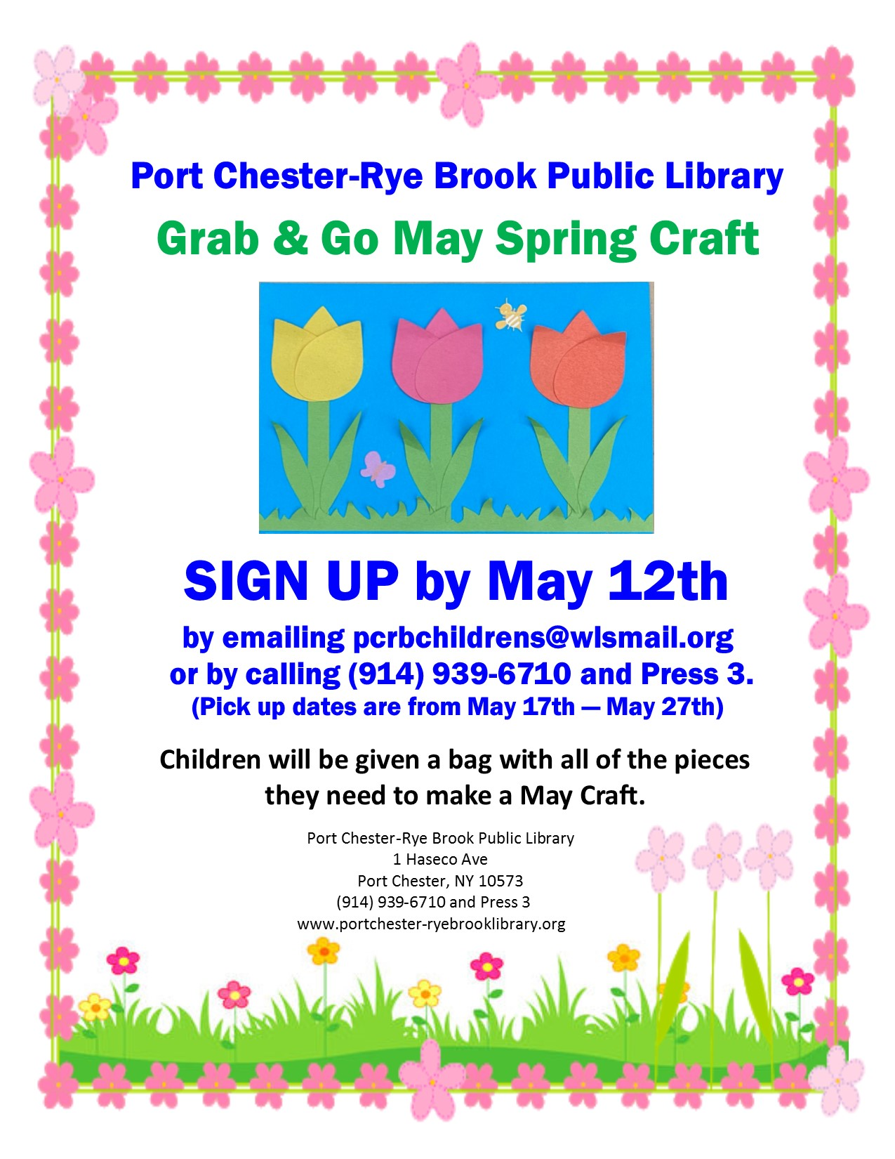 May Grab and Go Flower Craft Pickup at Port Chester-Rye Brook Library