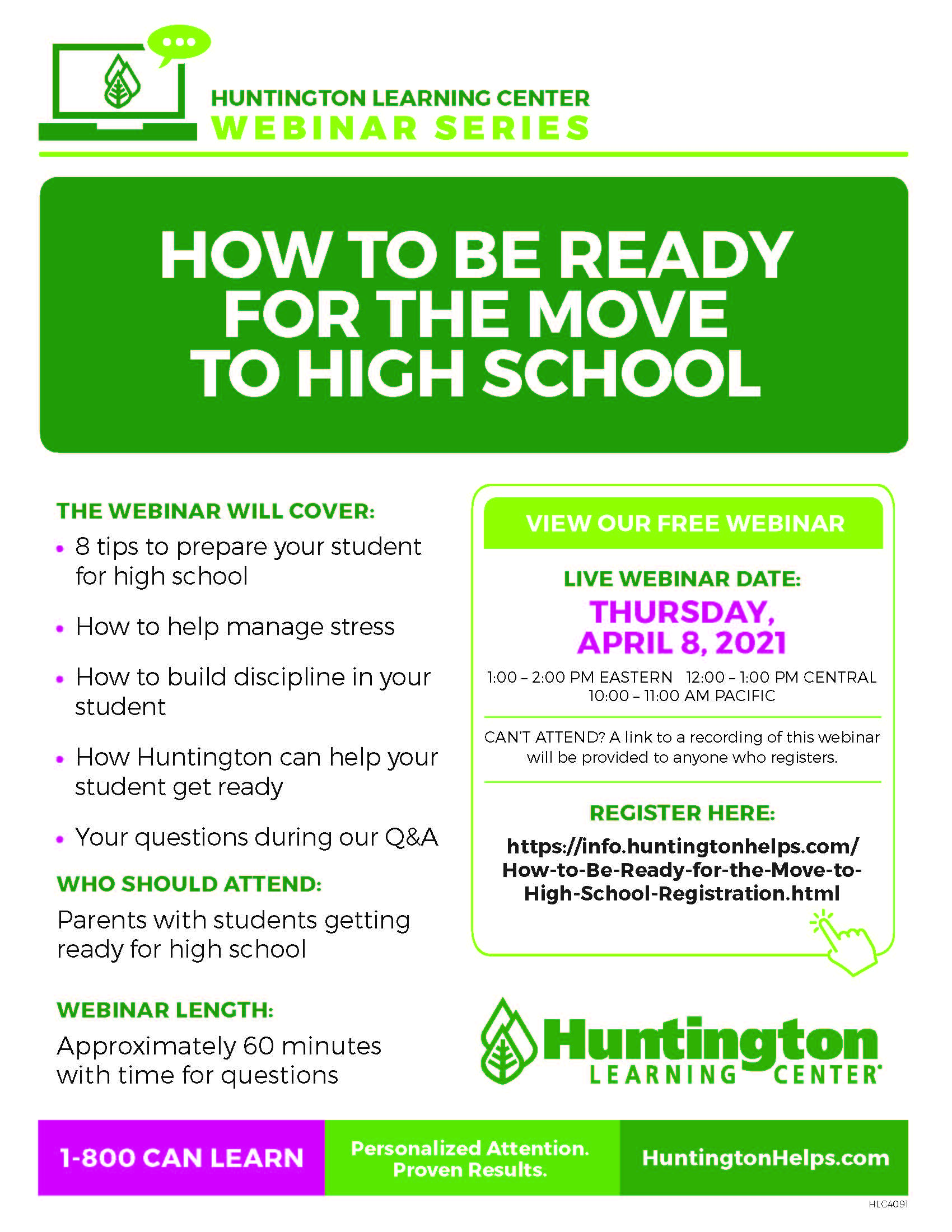 ONLINE How to Be Ready for the Move to High School at Huntington Learning Center