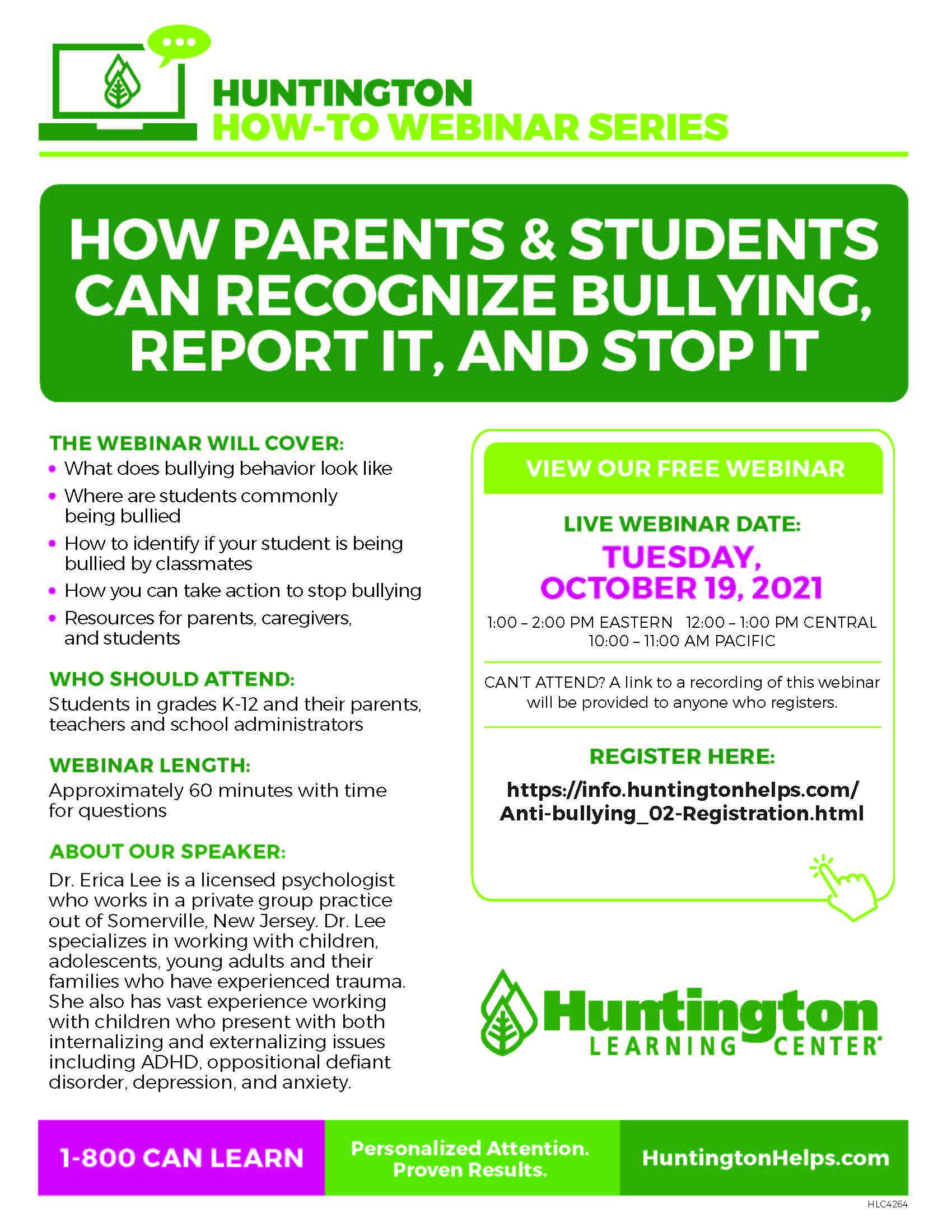 How Parents & Students Can Recognize Bullying, Report It, and Stop It at Huntington Learning Center