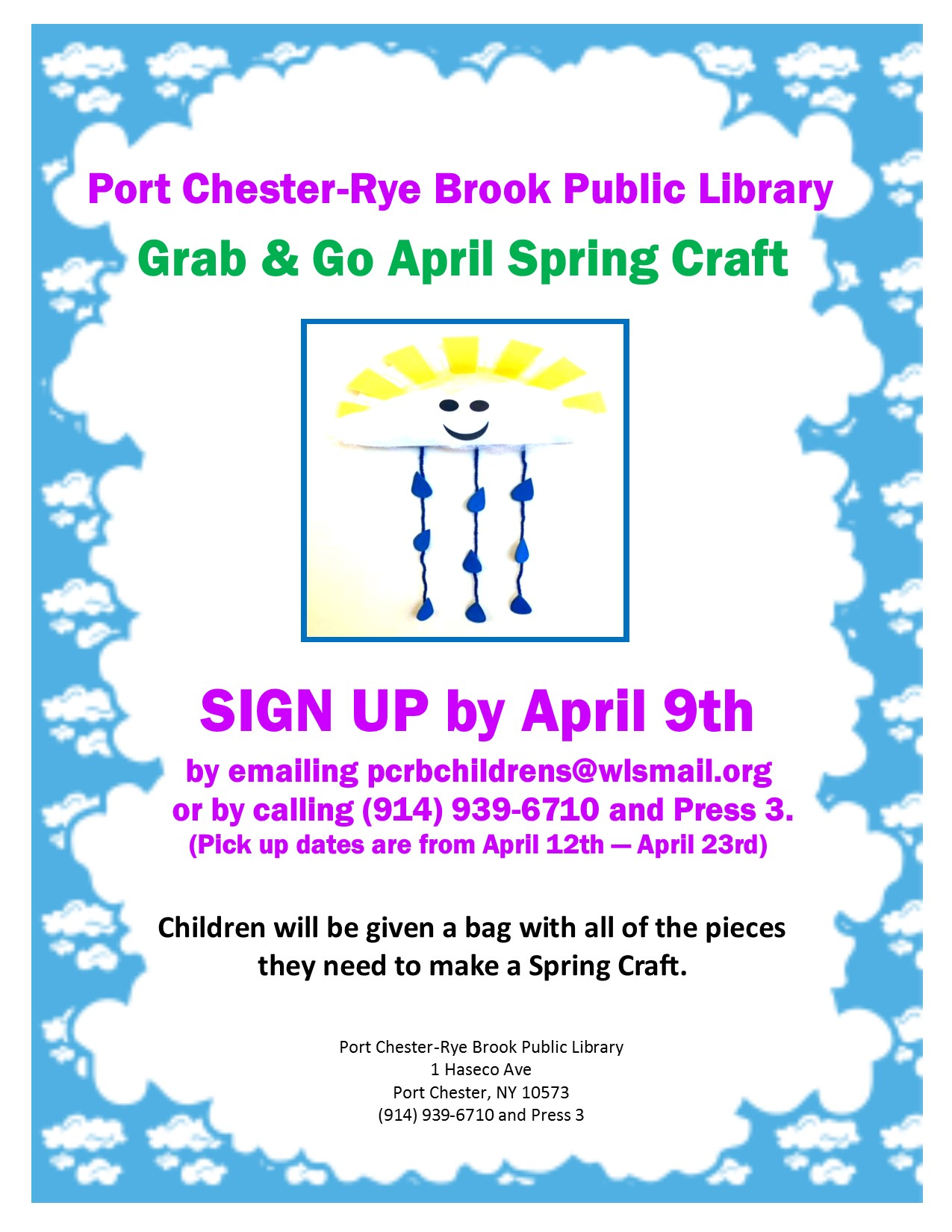 IN PERSON April Grab and Go Spring Craft Pickup at Port Chester-Rye Brook Library