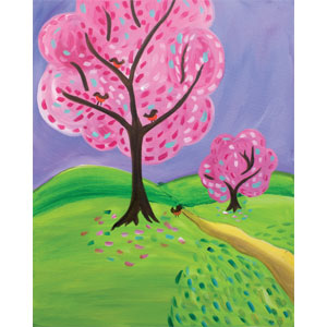 IN PERSON Spring Into Pink Canvas Painting at Color Me Mine at Palisades Center