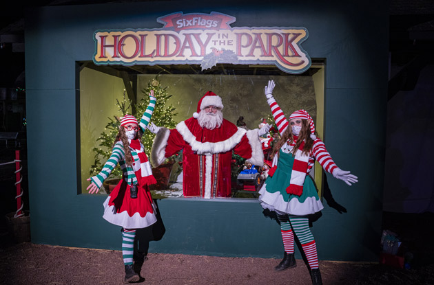 socially distant santa claus at six flags great adventure