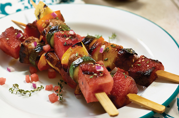 watermelon and pork kabobs